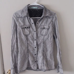 Maurice Gray & Black Acid Wash Chambray Button Top
